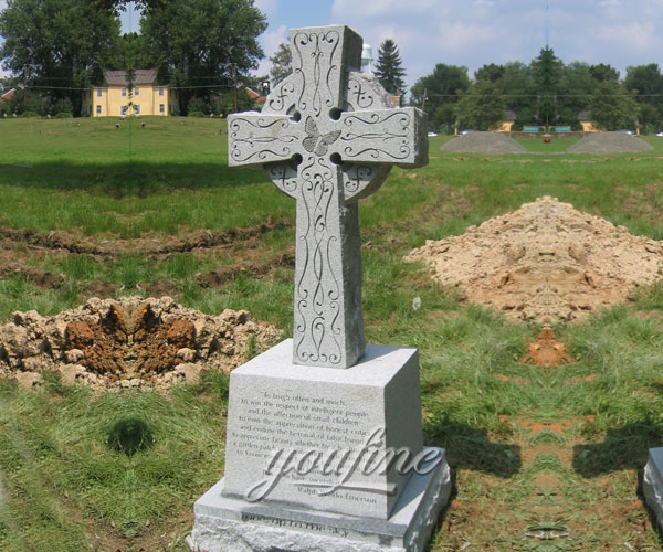 Cemetery Carved Marble Cross Tombstone for Sale