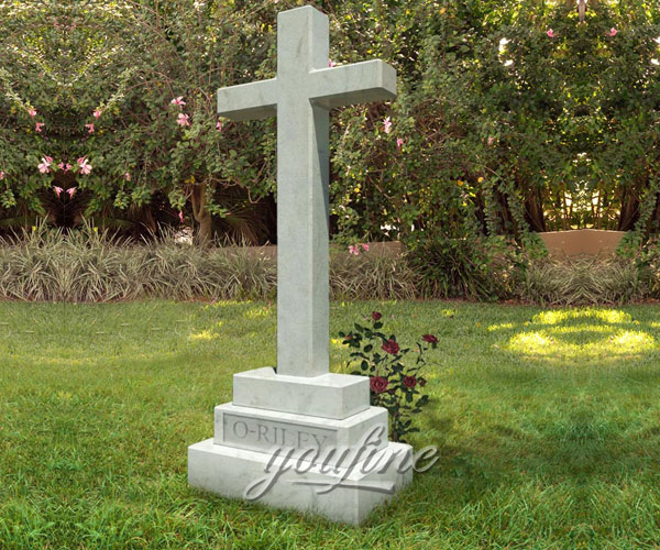 Hand Carved European Style white marble cross headstone designs for sale