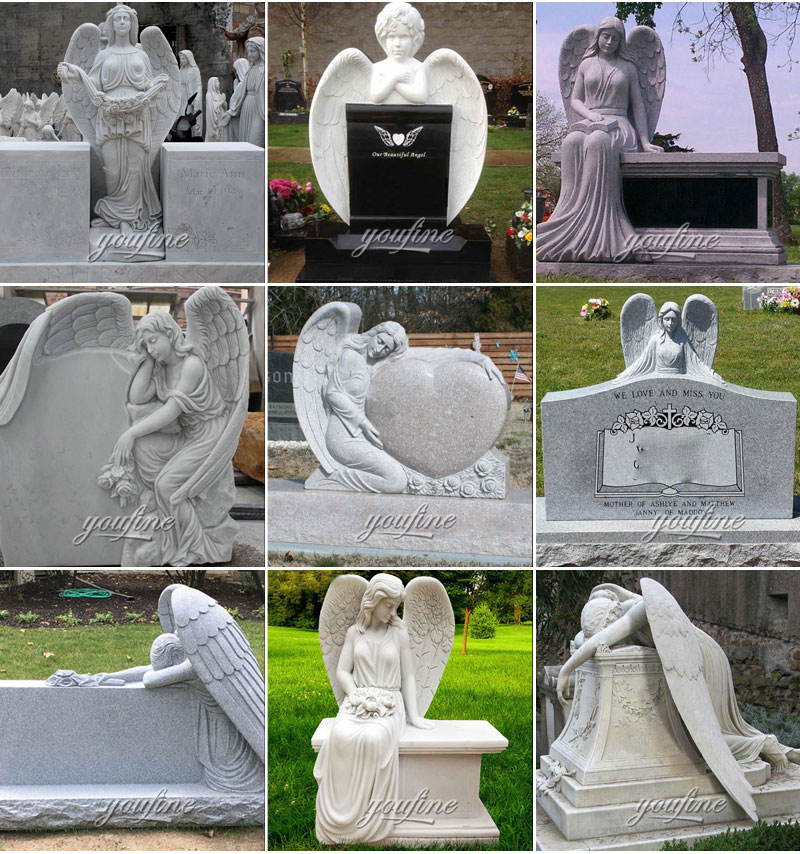 stone angel headstone design