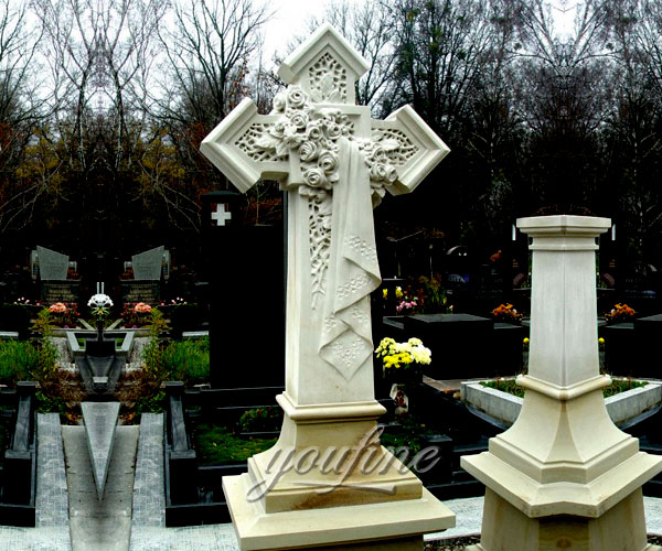 Detailed Carving Classic crosses headstones with flower