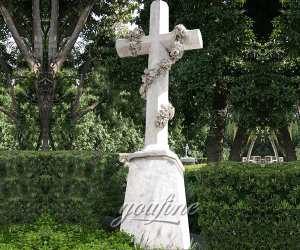Natural Marble Hand Carved funeral crosses headstones with flower