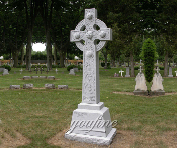 2017 New Designs Hand Carved white marble cross headstone
