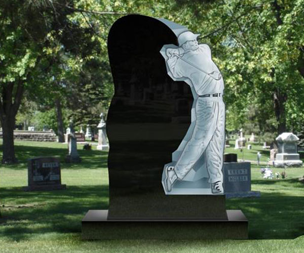 Black casting granite headstone plaques with man decoraton