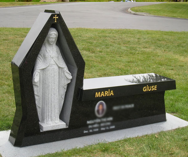 Black granite affordable headstones with white marble virgin mary statue for grave decoration to buy