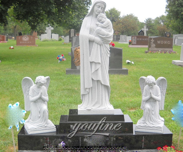 Cemetery headstone with Virgin Mary and little angel statue price