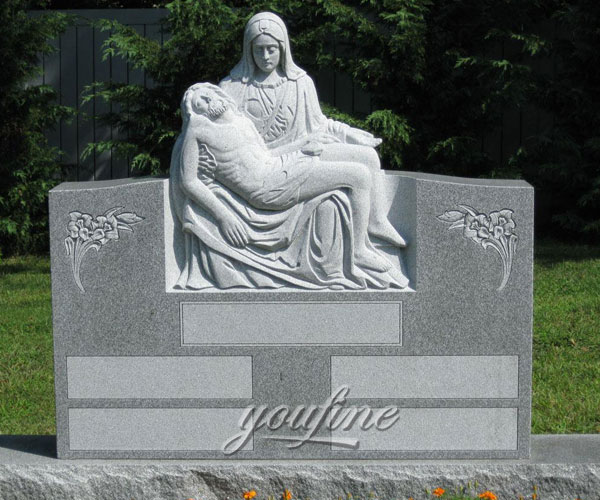 Cemetery monuments with pieta statue for grave decoration