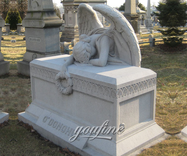 Classical stone weeping angel tombstone with garland grave decoration for sale