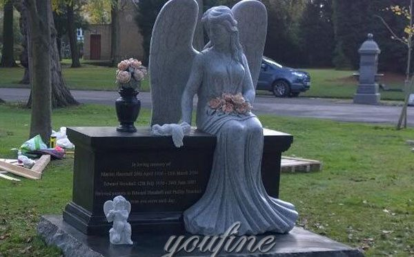 Customized granite stone angel hold flower with grave decoration cherub and vase to buy