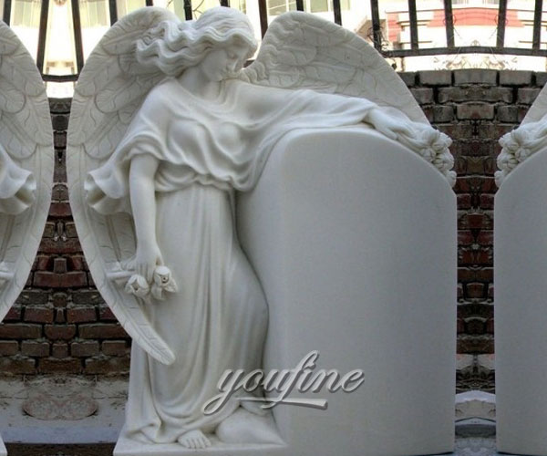Detailed Carving Classic pure white marble angel headstone design for sale