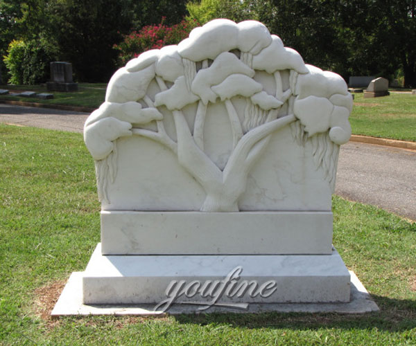 Discount headstone with hand carved tree relief grave decoration for sale