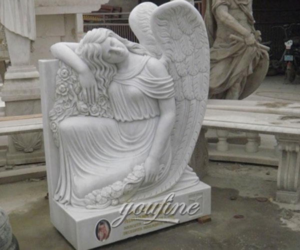Factory price white marble angles gravestone quotes