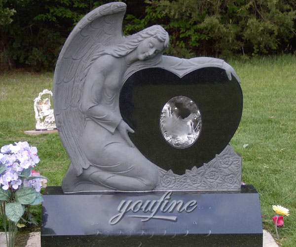 Granite angel heart tombstone design for sale