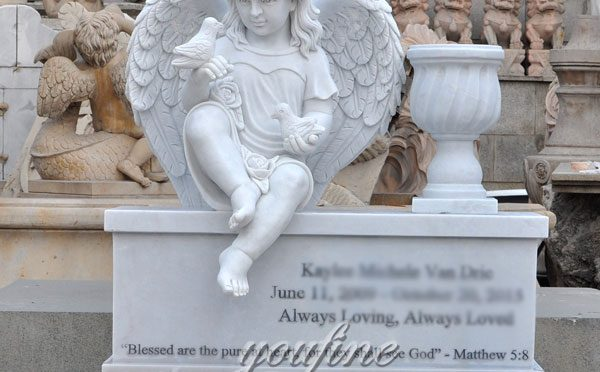 Hand Carved Factory Direct Sale white marble cherub grave decoration