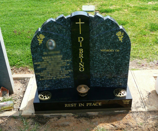 Hand carved natural black granite headstone plaques design maker