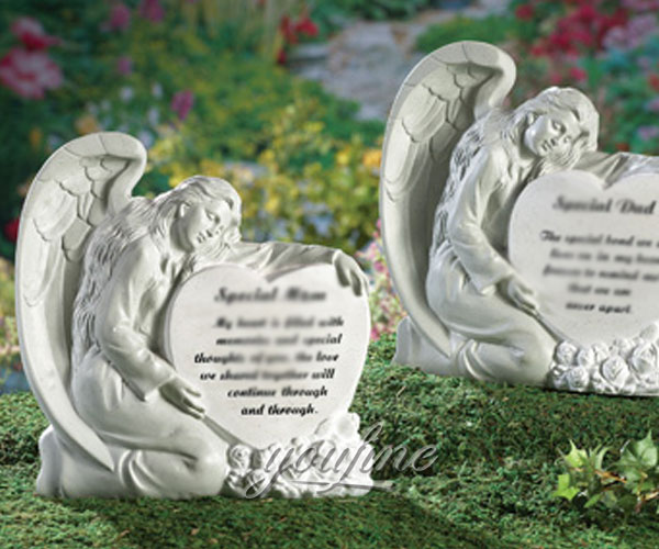 Hand carved natural marble angel heart shape headstones monuments price