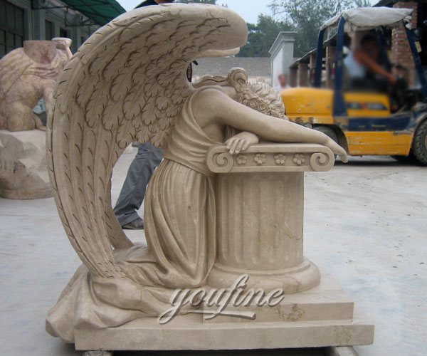Hot Sale Classic Modern Beige Marble Carving Weeping Angel Tombstone