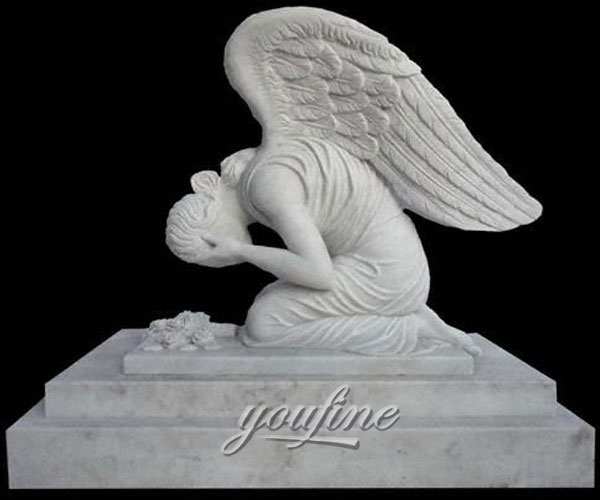 Hot Sale Classic Modern White Marble Carving Weeping Angel Tombstone