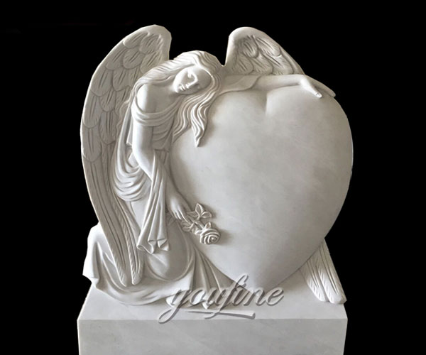 Natural Marble Angel Heart Headstone Monument Tombstone Design