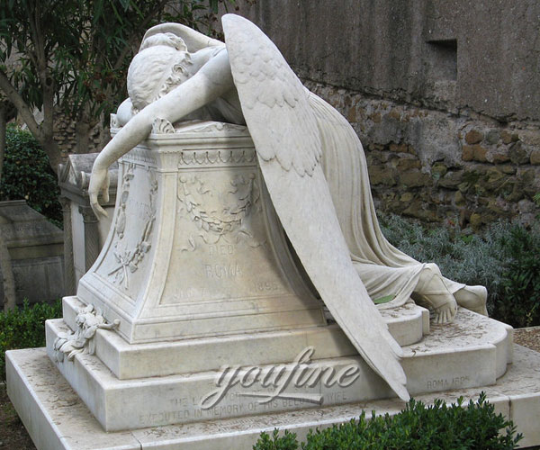 Natural Marble Hand Carved antique marble cermetery statue crying angel headstone price