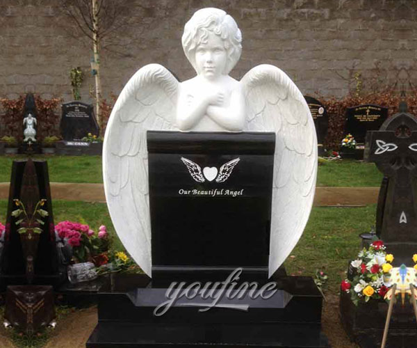 Natural granite Garden baby angel Sculpture Tombstone cemetery markers