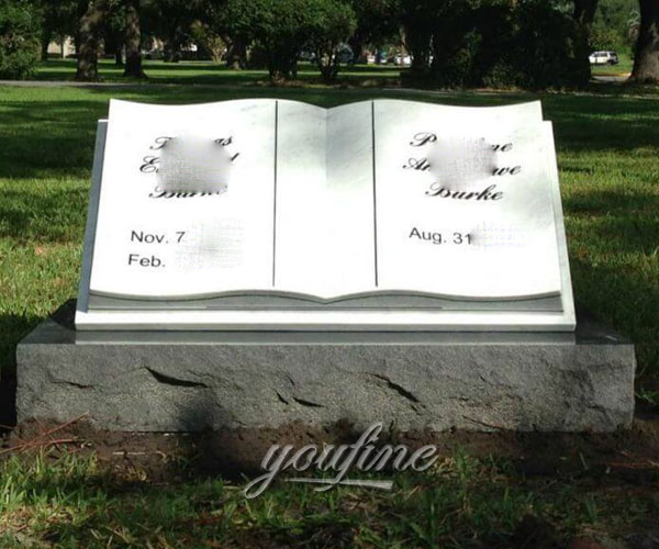 Natural stone book shape tombstone design maker