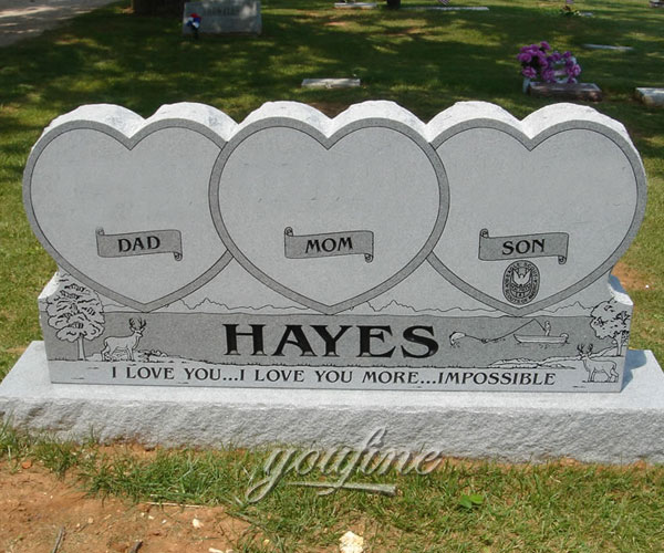 Natural white stone double heart grave stone design prices