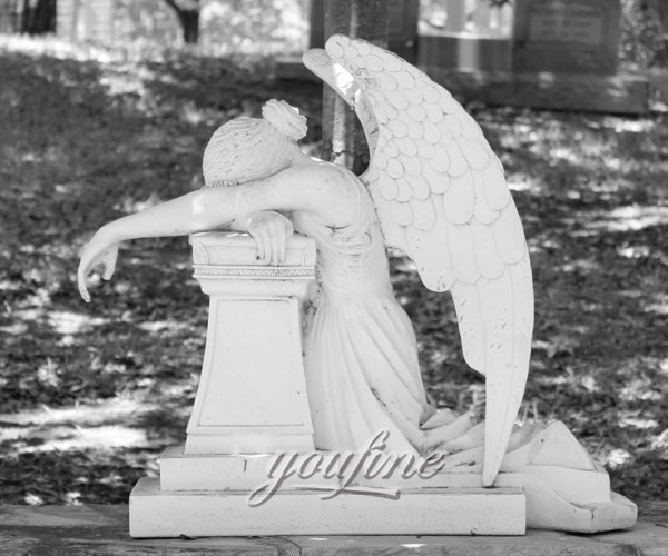 Pure white marble weeping angel tombstone with memorial benches to buy