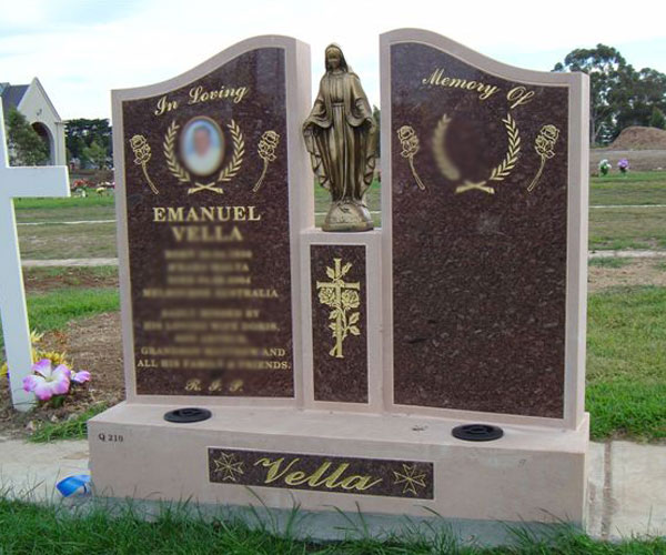 Religious granite cemetery monuments with Mary statue for grave decoraton