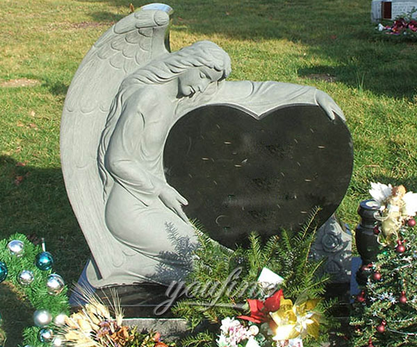 Stone angel cemetery monuments with granite heart design for sale