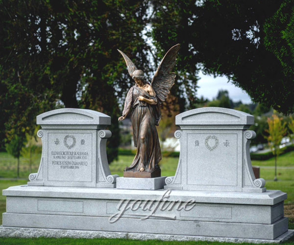 Stone upright headstones with bronze angel statue for grave decoration