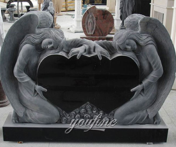 Unique Double Heart Carving weeping angel Grave Monument design