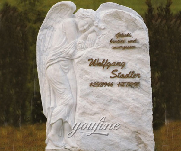 White marble and weeping angel tombstone design to buy