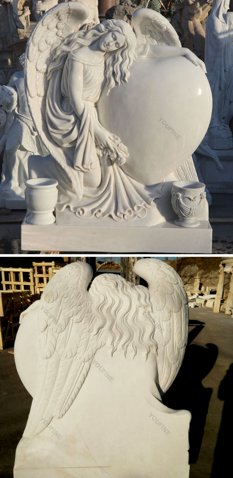 White stone preying angel grave monument markers costs
