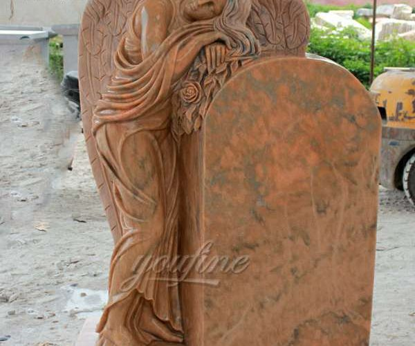 Carving Natural Marble Angel Headstone Design for Sale MOKK-63