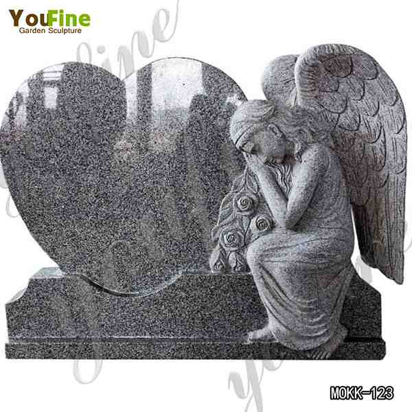 Hand Carved Granite Stone Sleeping Angel Sculpture Heart Tombstone for Sale MOKK-123