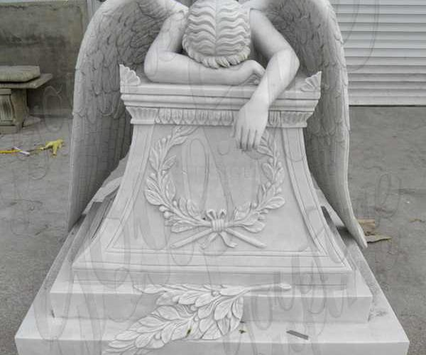 Hand Carved Weeping Marble Angel Headstone Monument Supplier MOKK-112