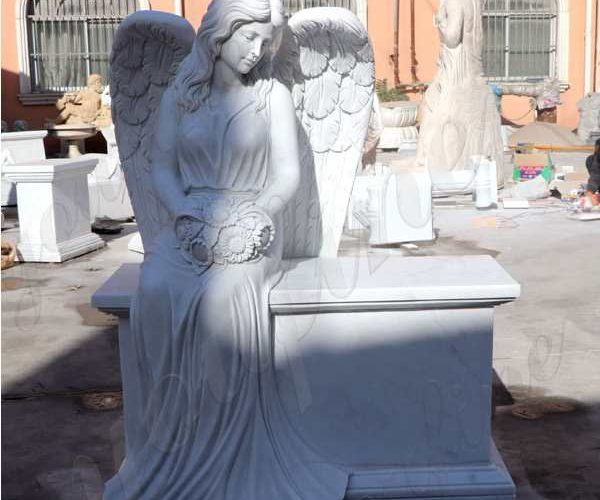 High Quality White Sitting Angel Sculpture Tombstone for Sale Maker MOKK-38