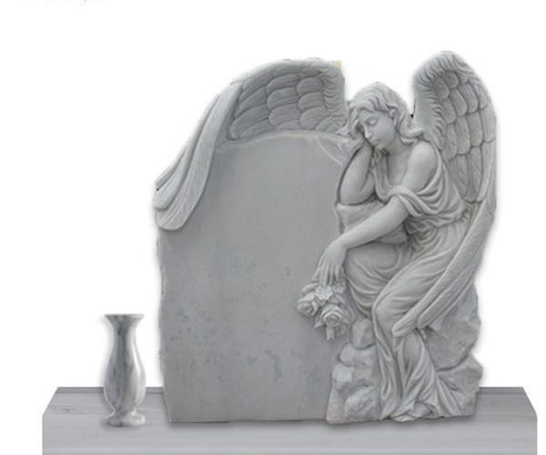 Life Size Natural Sleeping Angel Tombstone With Flower Pot for Sale MOKK-36