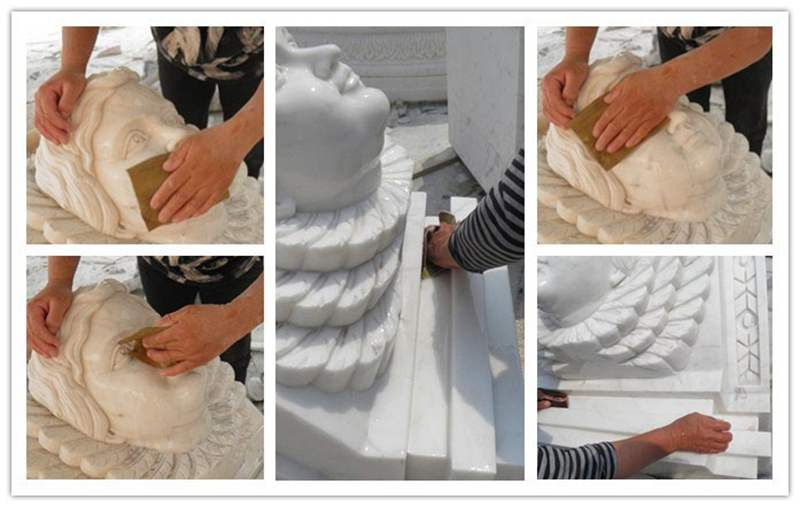 Natural Marble Angel Headstone Design