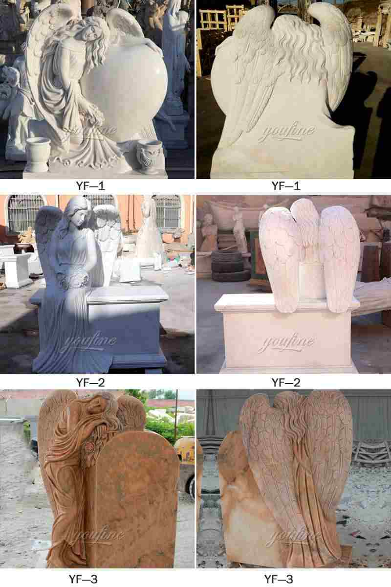 Natural Marble Angel Headstone