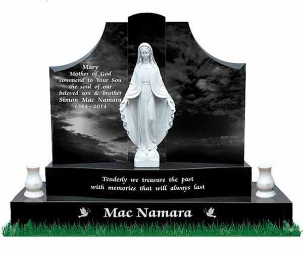 Virgin Mary Sculpture Upright Black Granite Cemetery Headstone for Sale MOKK-60