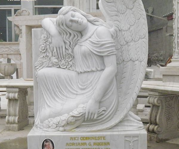 Handmade White Marble Headstone with Angle Monument Maker MOKK-654