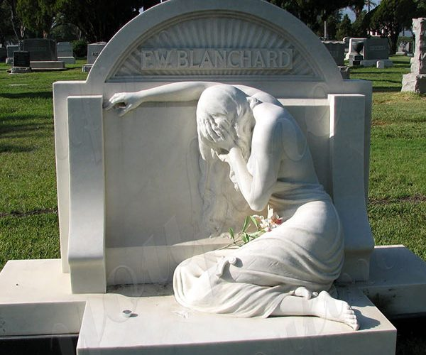 White Marble Headstone Cemetery Monument with Female Statue for Sale MOKK-560