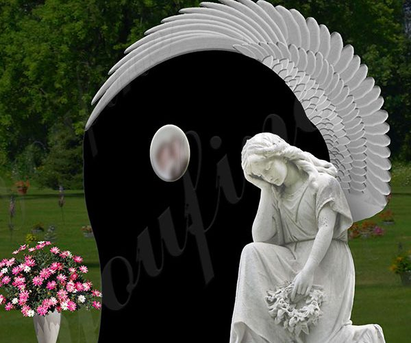 Guaranteed Granite Headstone Engraved Marble Angle Statue Supplier MOKK-561