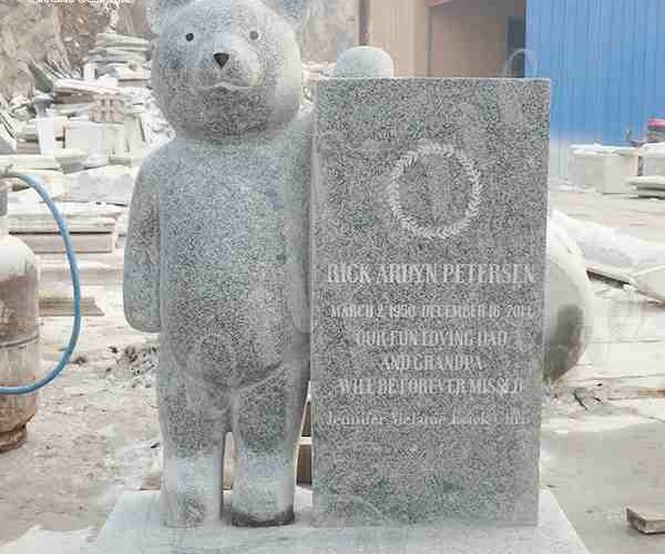 Where to Buy Customized Hand Carved Gray Granite Baby Headstone with Bear MOKK-646