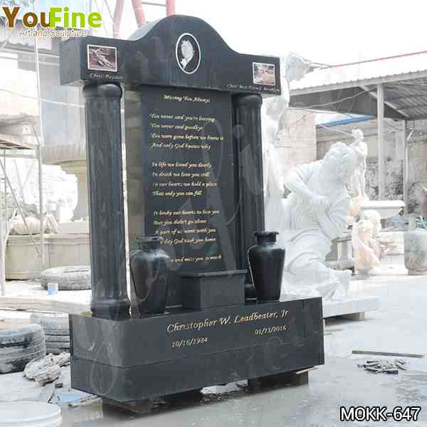 Black Granite Upright Headstone
