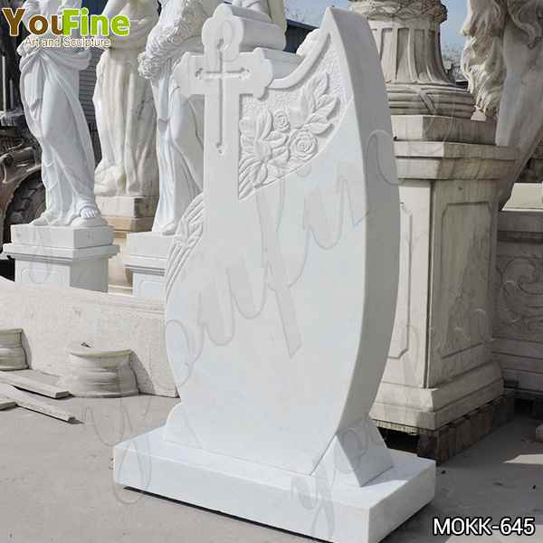 White Marble Cross Tombstone