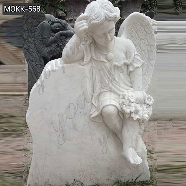 Customized High-polished Winged Marble Sleeping Baby Angel Gravestone Supplier MOKK-568