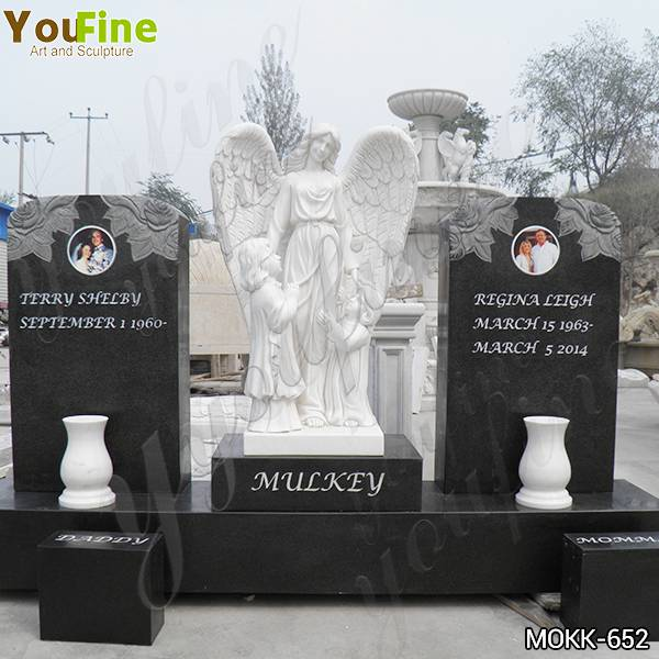 Hand Carved Customized Marble Angel with Wing Tombstone Monuments Supplier MOKK-652