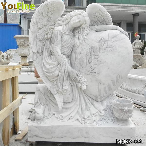High-quality Beautiful Sleeping Marble Winged Angel Headstone with Heart for Sale MOKK-651
